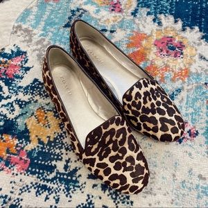 Coach leopard cheetah calf hair flats
